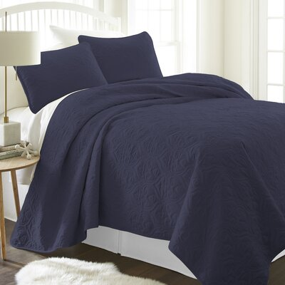 Marnell Coverlet Set Size: King/California King, Color: Navy
