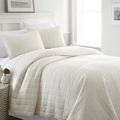 Purvi Coverlet Set Size: Queen/Full, Color: Ivory