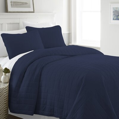 Purvi Coverlet Set Size: Twin/Twin XL, Color: Navy