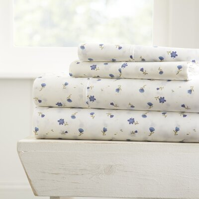 Lisle 4 Piece Printed Bed Sheet Set Size: King, Color: Light Blue