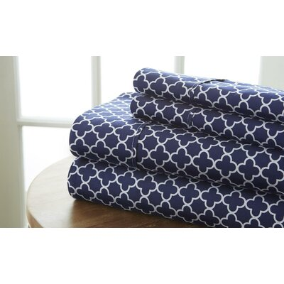 Alleyne Premium Printed Microfiber Sheet Set Size: Queen, Color: Navy