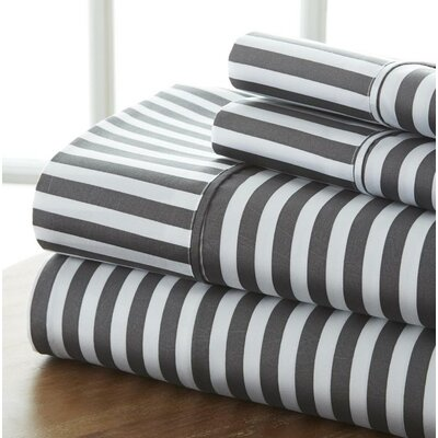 Fiala Striped Premium Ultra Soft 4 Piece Printed Bed Microfiber Sheet Set Size: Twin