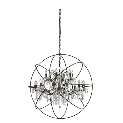 Sphere 18-Light Candle-Style Chandelier Finish: Rusted