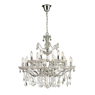 18-Light Crystal Chandelier Size: 28 H x 30 W x 30 D, Finish: Chrome