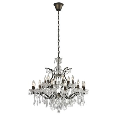 18-Light Crystal Chandelier Finish: Rustic, Size: 28 H x 30 W x 30 D