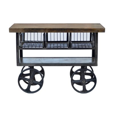 Industrial Kitchen Island with Mango Top