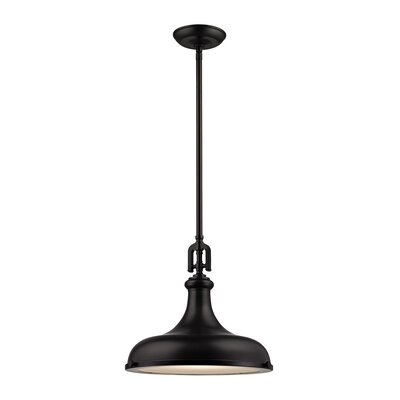 Rockridge 1-Light Mini Pendant Finish: Oil Rubbed Bronze, Shade Color: Oil Rubbed Bronze, Size: 14