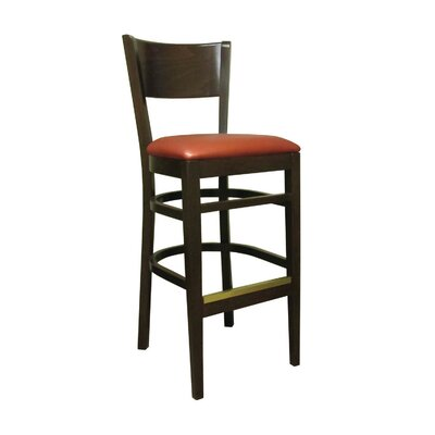 Denver 30 Bar Stool Kickplate Finish: Brass, Upholstery: Sherpa Cardinal