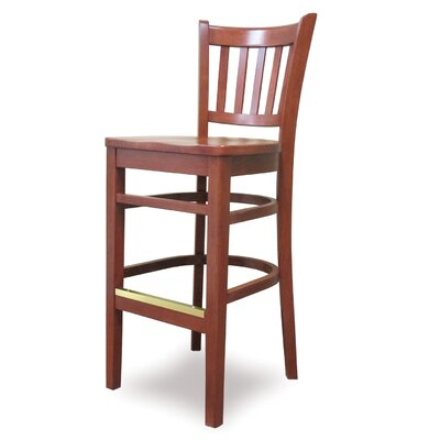 Grill 27 Bar Stool Finish: Chestnut, Kickplate Finish: Chrome