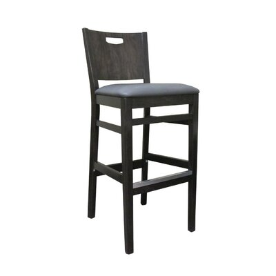 Soho 27 Bar Stool Kickplate Finish: Brass, Upholstery: Shire Midnight