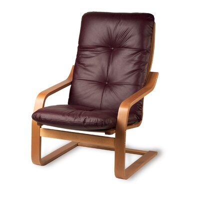 Lizzy Oak Finish Leather Chair Leather: Mushroom