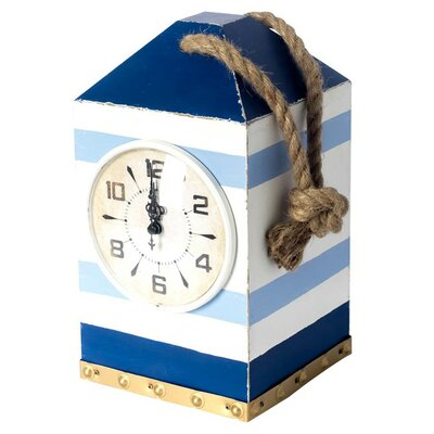Blue/White Wood Tabletop Clock
