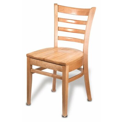 Carole Solid Wood Dining Chair Finish: Natural, Kickplate Finish: Brass