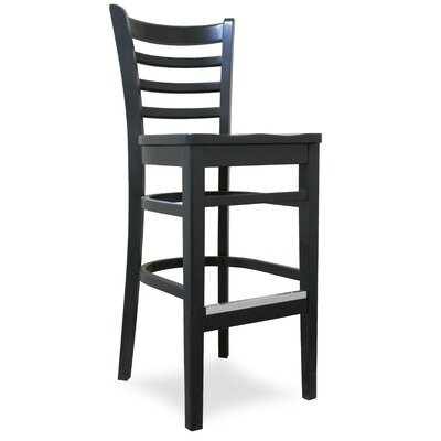 Carole 27 Bar Stool Kickplate Finish: Black, Finish: Walnut