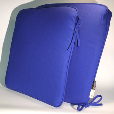 ComfortCare Outdoor Sunbrella Dining Chair Cushion Fabric: True Blue