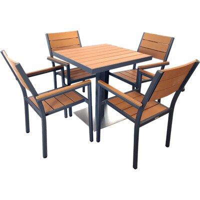 Millstone 5 Piece Dining Set Color: Black/Teak