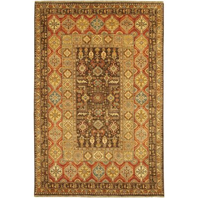 Lahore Marasali Hand-knotted Wool Brown Area Rug Rug Size: Rectangle 3