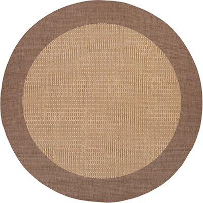 Klaus Checkered Field Brown Indoor/Outdoor Area Rug Rug Size: Round 76