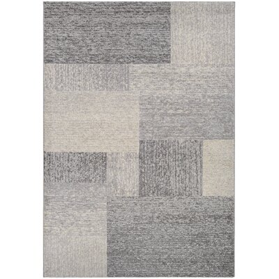 Becket Neutral Blocks Ivory/Gray Area Rug Rug Size: 53 x 76