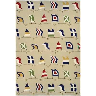 Emmeline Nautical Flags Hand Hooked Sand Indoor/Outdoor Area Rug Rug Size: Runner 26 x 86