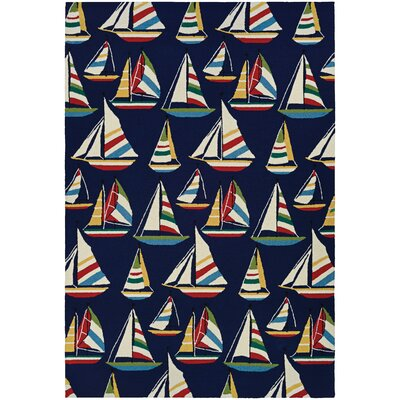 Emmeline Yachting Hand Hooked Navy Indoor/Outdoor Area Rug Rug Size: Runner 26 x 86