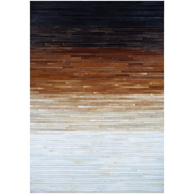 Ashlie Flat-woven Cowhide Black/Brown/Beige Area Rug Rug Size: Rectangle 56 x 8