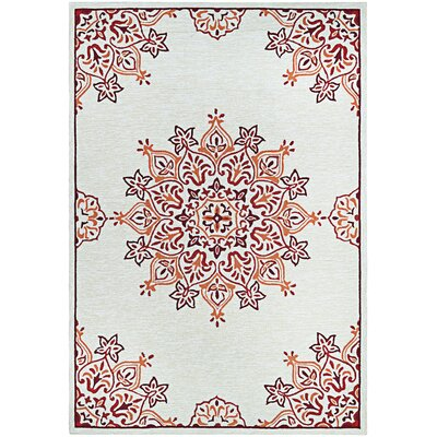 Delmon Hand Hooked Sand/Red Indoor/Outdoor Area Rug Rug Size: 36 x 56