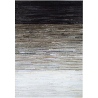 Ashlie Flat woven Cowhide Black/Gray Area Rug Rug Size: Rectangle 2 x 4