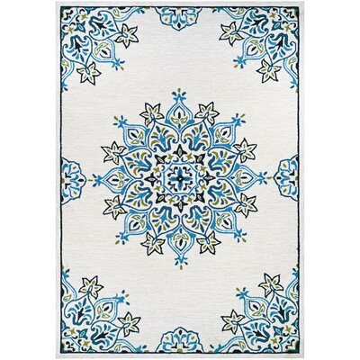 Delmon Hand Hooked Sand/Aqua Indoor/Outdoor Area Rug Rug Size: Rectangle 56 x 8