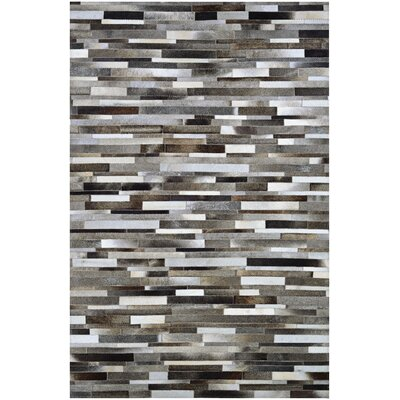 Ashlie Flat woven Cowhide Gray/Black Area Rug Rug Size: Rectangle 94 x 134