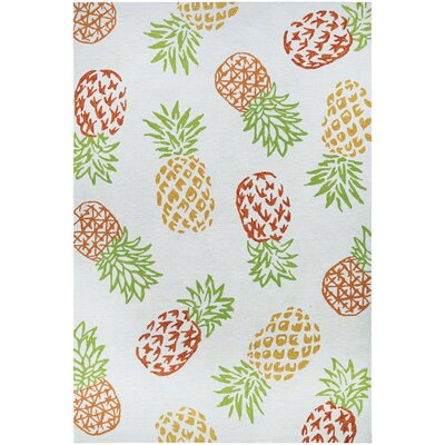 Wallingford Pineapples Hand Hooked Sand Indoor/Outdoor Area Rug Rug Size: 36 x 56