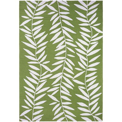 Wallingford Bamboo Leaves Hand Hooked Lime Indoor/Outdoor Area Rug Rug Size: 36 x 56
