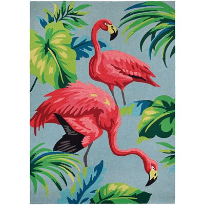 Wallingford Flamingos Hand Hooked Multi-Colored Indoor/Outdoor Area Rug Rug Size: 36 x 56