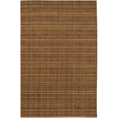Sandra Hand-Knotted Yellow/Brown Area Rug Rug Size: Rectangle 35 x 55