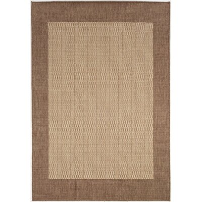 Westlund Checkered Field Brown Indoor/Outdoor Area Rug Rug Size: 39 x 55