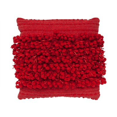 Pom Pom Throw Pillow Color: Red
