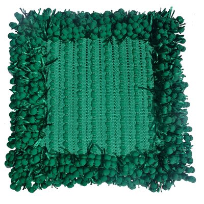 Pom Pom Throw Pillow Color: Emerald
