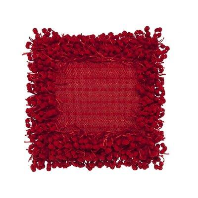 Pom Pom Throw Pillow Color: Red