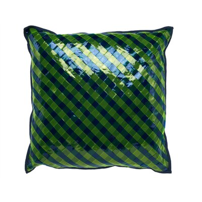 Vinyl Accent Throw Pillow Color: Blue / Green