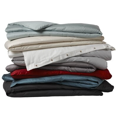 Sateen Organic Cotton Duvet Cover Color: Mid Gray, Size: Twin