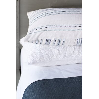Geo Stripe Duvet Cover Size: Full/Queen, Color: Alpine White/Deep Ocean/Mid Dusty Aqua