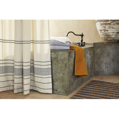 Rippled Stripe Cotton Shower Curtain Color: Ivory and Black