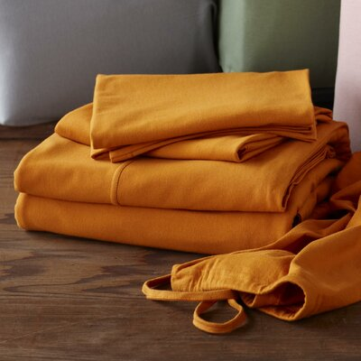 Jersey 3 Piece 100% Cotton Sheet Set Size: Extra-Long Twin, Color: Natural