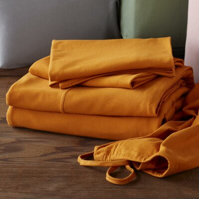 Jersey 4 Piece Sheet Set Color: Natural, Size: Queen