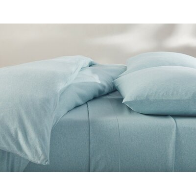 Jersey Cotton Sheet Set Size: Full, Color: Blue Heather
