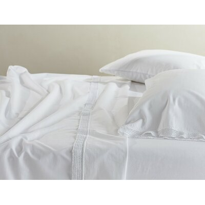 Crochet Trimmed Cotton Sheet Set Color: Alpine White, Size: Twin