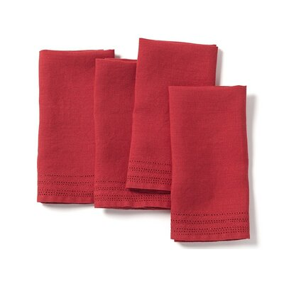 Eyelet Linen Napkin Color: Crimson