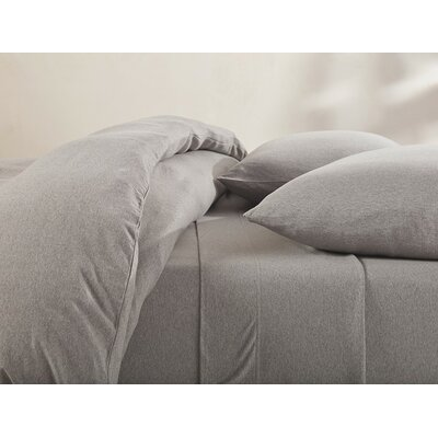 Jersey Cotton Sheet Set Color: Gray Heather, Size: Queen