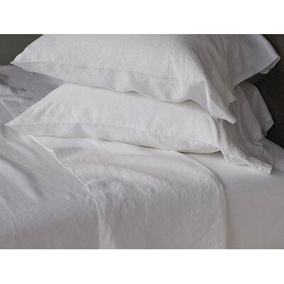 Relaxed Linen Sheet Set Color: Fog, Size: Queen