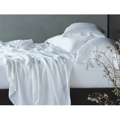 Relaxed Linen Sheet Set Color: Alpine White, Size: Queen